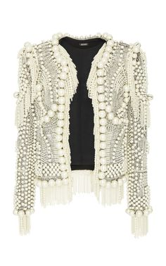 Collarless Pearled Jacket by BALMAIN for Preorder on Moda Operandi