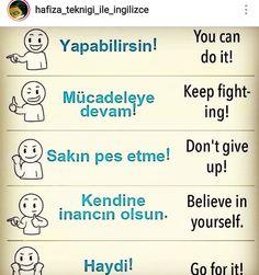 English Phrases, English Words, English Language, Language Quotes, Language Lessons, Turkish Lessons, Learn Turkish Language, Keep Fighting, Learn English