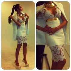 Dress: white belt gold clothes white lace lace sexy tight above the knee babyblue tiffanyblue midi