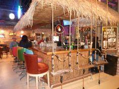 "Tiki Bar - I like the swing bar stool idea- ""great GIRL cave"""