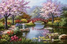 Global Gallery 'Japanese Garden in Bloom' by Sung Kim Original Painting on Wrapped Canvas Size: Landscape Paintings, Art Paintings, Painting Portraits, Landscape Prints, Seascape Paintings, Landscape Pictures, Nature Paintings, Watercolor Landscape, Belle Image Nature