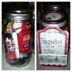 """Homemade gift """"Pampering in a Jar"""".  Jar comtains fluffy socks, hand cream, purell hand sanitizer, Soft lips lip balm, body spray and chocolates!  Fill the jar and decorate for the hloiday!"""