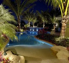 tropical pool lighting