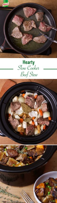 This St. Patty's Day, fill your kitchen w/ the delicious scent of our Hearty Slow Cooker Beef Stew. Pour water over Knorr Homestyle Stock in bowl; stir. Season beef w/ pepper & coat w/ 2 tbsp flour. Heat oil in skillet over heat & brown beef, stirring; set aside. Put potatoes, carrots, onions & garlic in slow cooker, beef, Stock, Worcestershire sauce, thyme & bay leaf. Cover & cook low 8 hours. Blend flour & remaining Stock. Stir flour mixture, & peas in slow cooker. Heat to high. Cook 15…