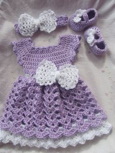 Crochet Baby Infant Dress with Matching Headband by StonehouseGals