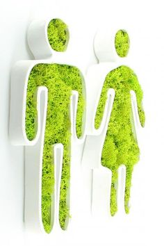 Flowerbox - the inventor of the green wall:- Flowerbox – l'inventeur du mur végétal: Flowerbox – the inventor of the green wall: - Moss Wall Art, Moss Art, Wayfinding Signage, Signage Design, Moss Graffiti, Green Wall Art, Displays, The Inventors, Toilet Design