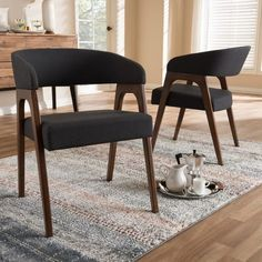 Mid-Century Fabric Dining Chair Set by Baxton Studio Fabric Dining Chairs, Dining Chair Set, Dining Table, Walnut Stain, Walnut Wood, Baxton Studio, Mid Century, Home And Garden, Comfy