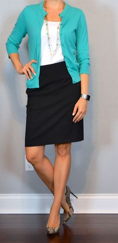 outfit post: teal cardigan, black pencil skirt, snakeskin pumps - my go-to outfit!