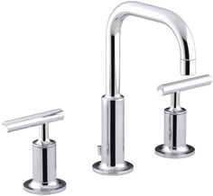 Kohler K-14406-4 Purist Widespread Bathroom Faucet with Ultra-Glide Valve Techno Polished Chrome Faucet Lavatory