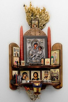 "Home altar.the Matchmaker leads couples to an altar devoted to knitting to ""stitch"" them together for life Religious Icons, Religious Art, Religion, Catholic Altar, Catholic Relics, Pagan Altar, Prayer Corner, Home Altar, Spiritus"