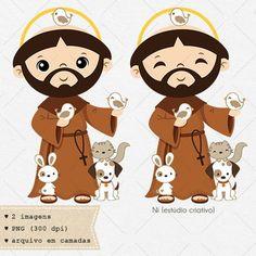 Saint Francis of Assisi Francis Of Assisi, St Francis, Cute Doodles, Vector Clipart, 3 D, Art Projects, Saints, Clip Art, Cartoon
