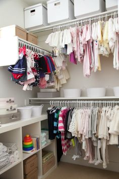 My girls' closet is a little dreamy, for me at least! Little coordinating clothes hung in order send me into a tissy! Although I love the way this closet looks, the way it functions is even b…
