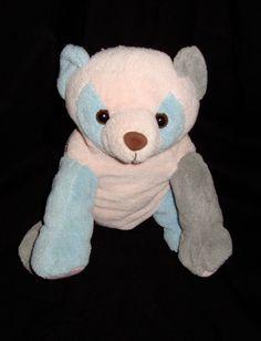 "Panda Bear Pink Blue & Green Patchwork 9"" Teddy Bear Stuffed Animal Plushie"