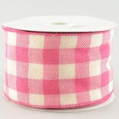 "4"" Faux Burlap Pink Gingham Check Ribbon (25 Yards)"