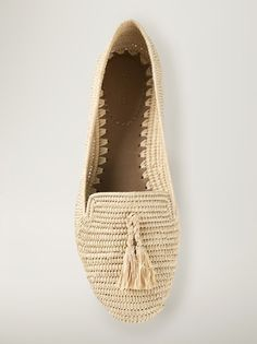 Carrie Forbes - Rafia beige slip-on loafer with front tassel