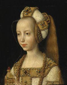 Late #Medieval or #Gothic 15th century Marie de Bourgogne, Duchesse de Bourgogne (1457-1452) wearing padded roll hennin, daughter of Charles the Bold, Duke of Burgundy from the House of Valois-Burgundy and Isabella of Bourbon https://hemmahoshilde.wordpress.com/2015/07/05/mary-of-burgundy-a-padded-roll-model/.
