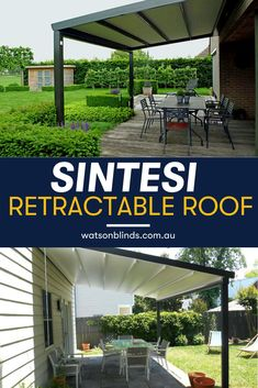 Designed to extend your outdoor lifestyle and provide weather protection all year long, Watson Blinds offers this Italian designed retractable roof that incorporates an integrated rain gutter and downpipe system fitted discreetly into an elegant mounting frame to channel water away. Request for your appointment today for your customized retractable roof!  #RetractableRoofPergola #PatioRetractableRoof #OutdoorWindowTreatment Modern Window Treatments, Sliding Door Window Treatments, Sliding Doors, Kitchen Shades, Kitchen Blinds, Curtain Alternatives, Kitchen Window Coverings, Block Out Curtains, Minimalist Window