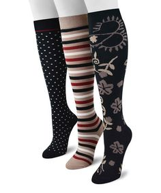 f0747edcd Take a look at this Tan   Black Traditional Knee High Socks - Set of Three  - Women by MUK LUKS on today!