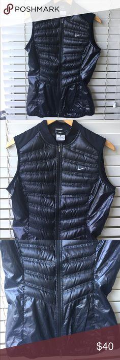 "Nike Aeroloft 800 Running black Vest Jacket Body 100% Polyester Lining 100% Polyester Fill goose down min 90% Length 22 1/2"" Chest 17 1/2"" Shoulder to Armpit 8 1/2"" Nike Jackets & Coats Vests"