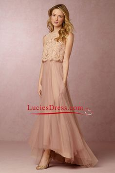2016 Two-Piece Bridesmaid Dresses A Line Tulle & Lace US$ 129.99 LCP1YJ2HFX - luciesdress.com