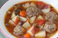 Meatball Soup on MyRecipeMagic.com  Delicious, savory soup with meatballs.