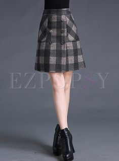719ec0cefc Shop for high quality Vintage Grid A-line Slit Skirt online at cheap prices  and