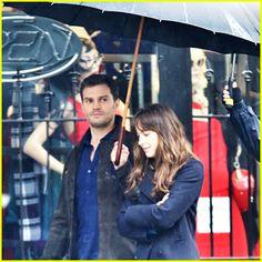 Jamie Dornan is Dakota Johnson's Umbrella Holder on 'Fifty Shades Darker' Set!