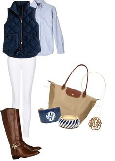 my outfit today was similar to this!!! love my riding boots, gingham shirts, and vests!!!