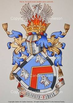 Arms painted for Jenn Reed by Candice Jamieson  (heraldic art, heraldic artist, heraldry, Candice Jamieson, coats of arms, American heraldry, The Jamieson Family)