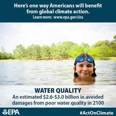 Good drinking water quality is important for a healthy life. Climate change could reduce water quality, impacting the economies of communities across our country. When we #ActOnClimate we can avoid an estimated $2.6 - $3.0 billion in damages per year from poor quality by 2100. http://www2.epa.gov/cira/climate-action-benefits-water-quality