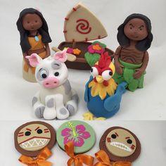 Adoro esse colorido da Moana . #moanaparty #festamoana #moana #docesdecorados Clay Art, Fondant, Cupcakes, Chocolate, Christmas Ornaments, Holiday Decor, Moana Birthday, Personalised Sweets, Candy Table