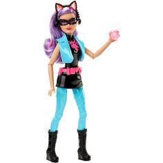 La muñeca de la Ladrona Felina que luce un conjunto con detalles felinos, gracias al cual esconde su identidad. ¡Como en la película de Barbie!