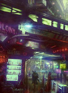 Underbelly of a mega city, cyberpunk / sci-fi inspirationunknownskywalker:Dark sides of the NeoCity by Alexandr Elichev Cyberpunk 2077, Ville Cyberpunk, Cyberpunk City, Arte Cyberpunk, Futuristic City, Steampunk, Blade Runner, Space Opera, Sci Fi City