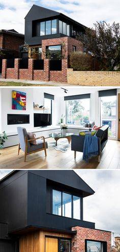 Here's how to get the Designer Mixed-Materials look and make it reflect your personality. House Facades, Facade House, External Cladding, Curtains With Blinds, Modern Homes, House Goals, House Floor Plans, My Dream Home, Sims 4