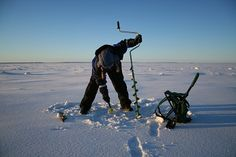 Ice Fishing on the ice of Bothnic Sea