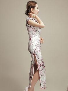 Ankle-length Floral Qipao / Cheongsam Dress with Plum Blossom Print