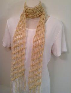 Lightweight Crochet Scarf - Sparkly Cream by SueAnnesKnitShoppe on Etsy