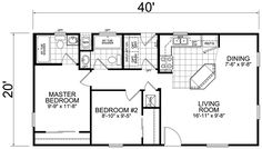 26 x 40 Cape House Plans | Second units- rental, guest house, vacation home: 20x40 2 Bedroom, 2 ...