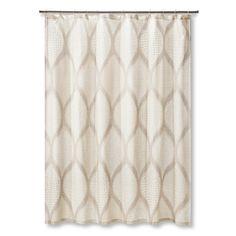 Mudhut Ogee Tie Dye Shower Curtain, Beige/Ivory