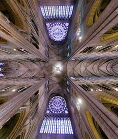 This is an awesome 360 degree shot of the choir of Notre Dame de Paris.  It really shows the symmetry of the Gothic ideal as well as the exposed ribbing and lighted interior.  This is taken right at the crossing as you can see.