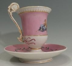 Meissen pink white and gold trim tea cup and saucer