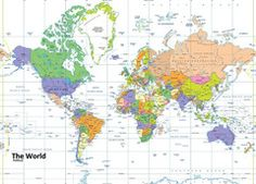 World Political Map World Political Map, Wall Maps, Vinyl Banners, Prints, Poster, Art, Art Background, Kunst, Printed