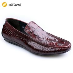 Men's Casual Genuine Leather With Crocodile Skin Printed Slip-on -  Penny Loafers