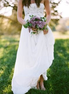 I love the lilac bouquet and the shoeless bride