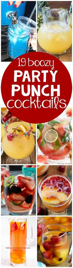 If you're having a party try one of these 19 party punch cocktail recipes! Your guests will love these drink recipes! If you're having a party try one of these 19 party punch cocktail recipes! Your guests will love these drink recipes! Drinks Alcohol Recipes, Non Alcoholic Drinks, Cocktail Drinks, Fun Drinks, Yummy Drinks, Cocktail Recipes, Processco Cocktails, Spiked Punch Recipes, Bourbon Drinks