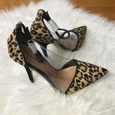 • Renvy leopard heels size 7 • Leopard and pvc on the sides. Brand new. Size 7 heels. No trades. Renvy Shoes Heels