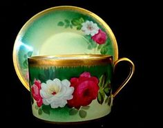 limoges haviland hand painted artist signed roses tea cup and saucer ebay Antique Tea Cups, Vintage Cups, Vintage Tea, Tea Cup Set, My Cup Of Tea, Tea Cup Saucer, Teapots And Cups, Teacups, China Tea Cups