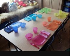 this is a cute set up for kids at daycare I like the idea of each child having their own color for things.  Less cross contamination