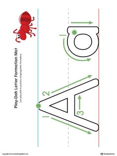 Letter Formation Play-Doh Mat: Letter A Printable in Color Worksheet.Make…