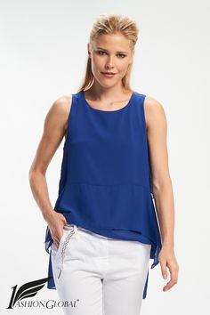 Blusa lisa asimétrica azul cobalto